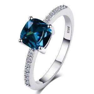 Dainty Cushion Cut Tanzanite & Diamond Silver Ring
